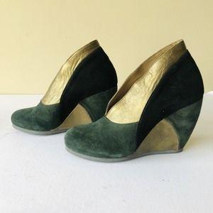 Fly Girl suede color block wedge heels